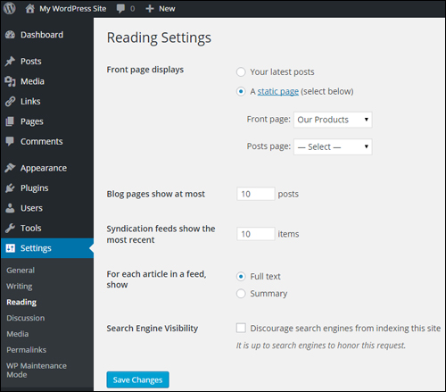 Settings Menu - Reading Settings Screen