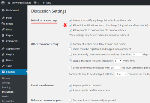 Settings Menu - Discussion Settings Section
