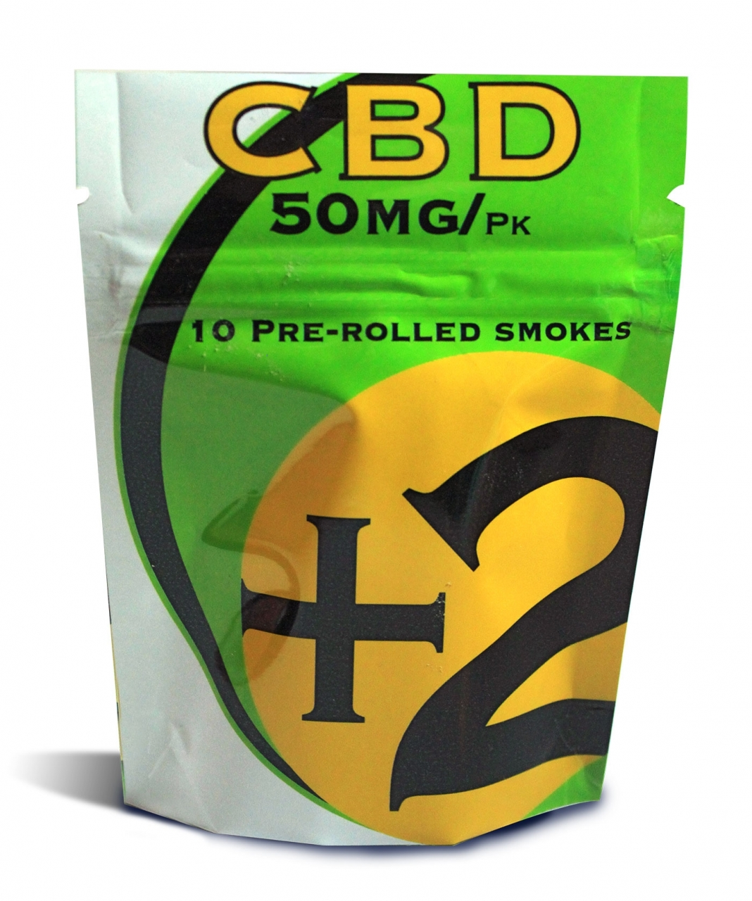 +2 CBD 2018-08-02 - +2 pre-rolled pack with filter 50mg dose, standard king size in a foil zipper bag