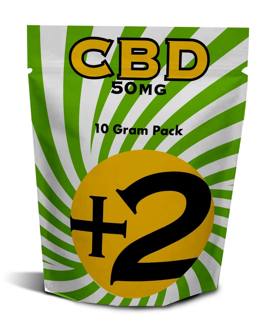 +2 CBD 2018-08-02 - +2 loose 10 gram bag 50mg dose per bag