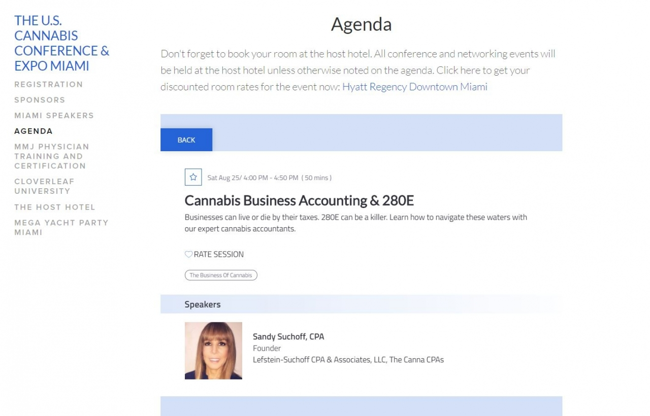 US CANNABIS CONFERENCE MIAM 08-25-18 SANDY SUCHOFF CPA THE CANNA CPAS 280E