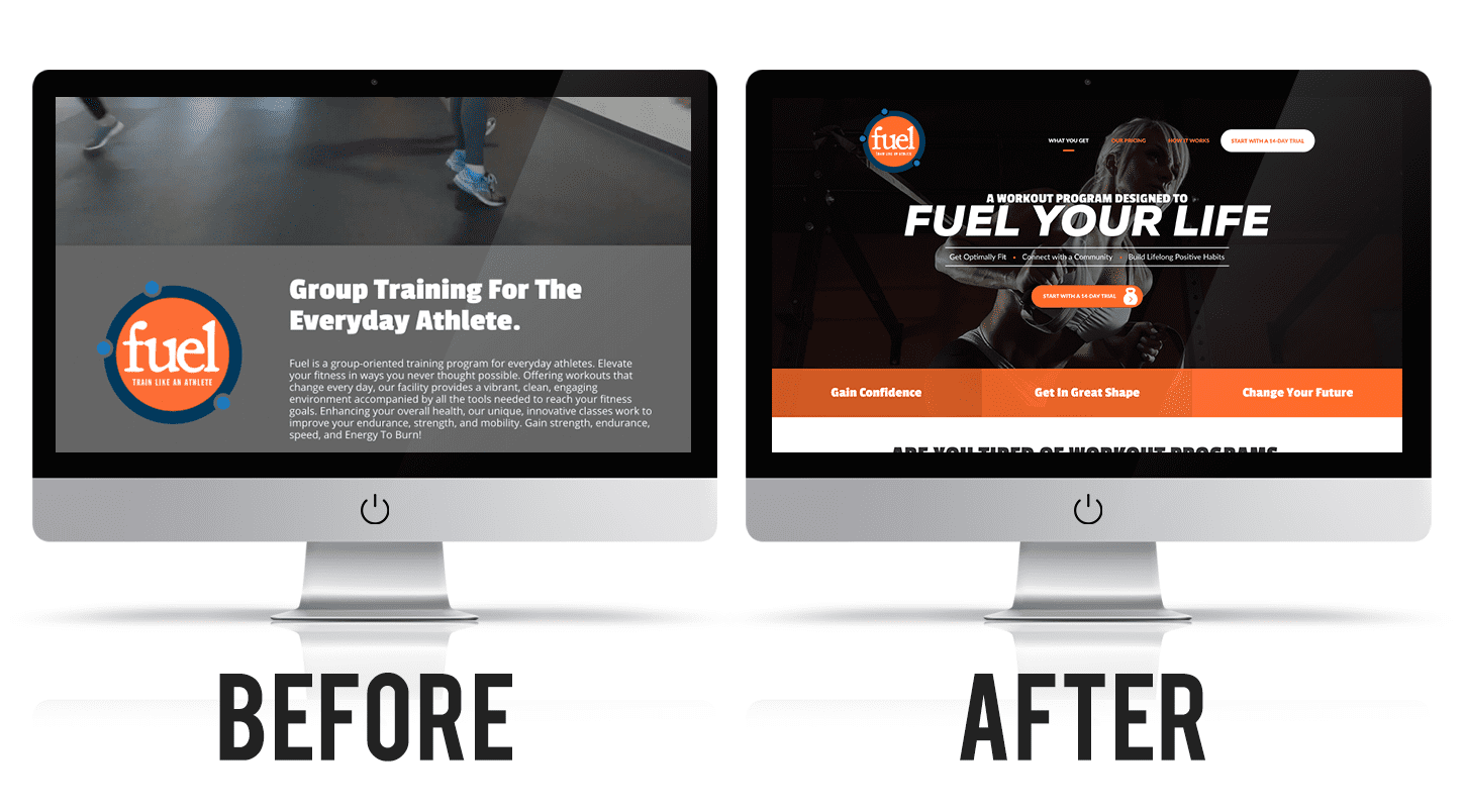 Fuel Hickory's website before and after