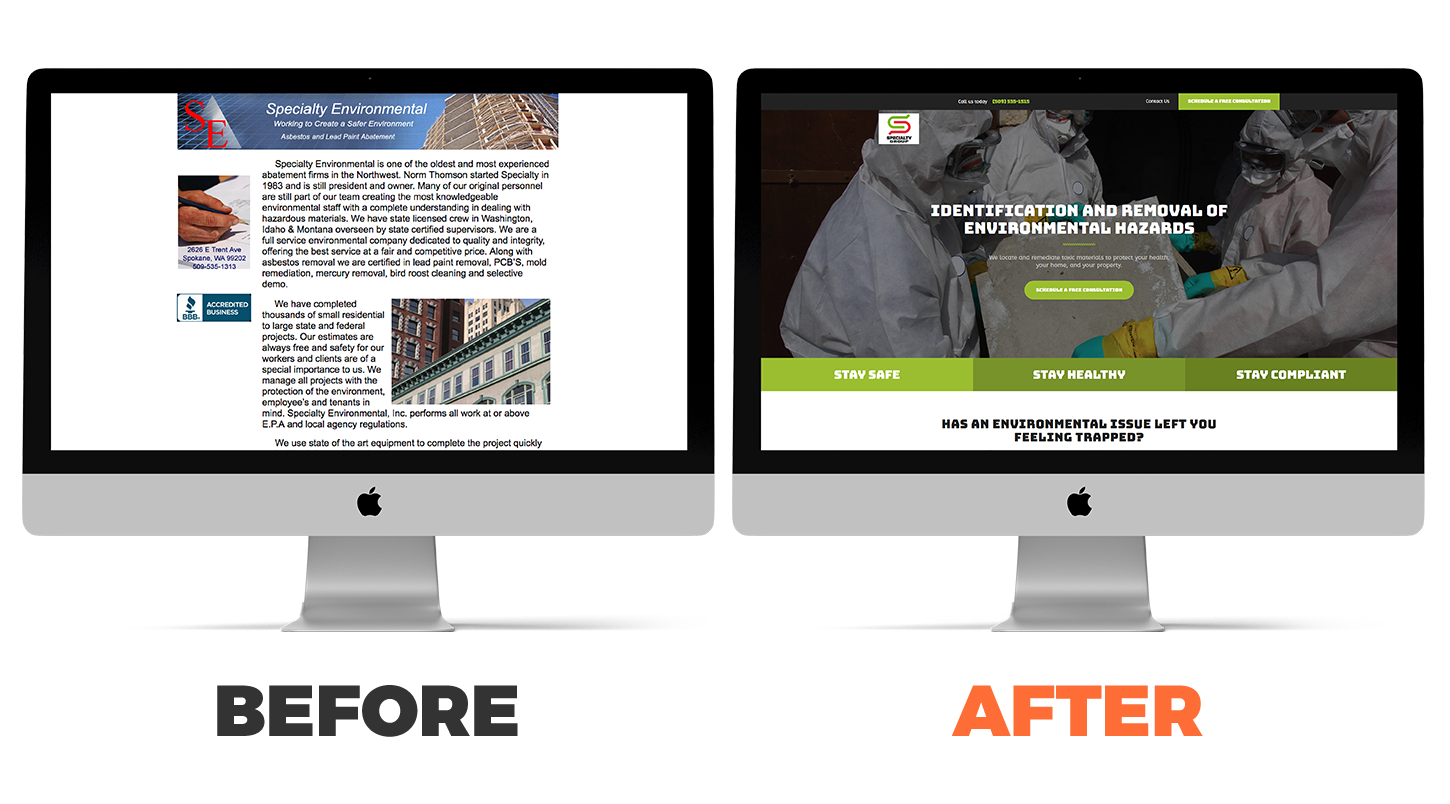 Specialty Group's website before and after