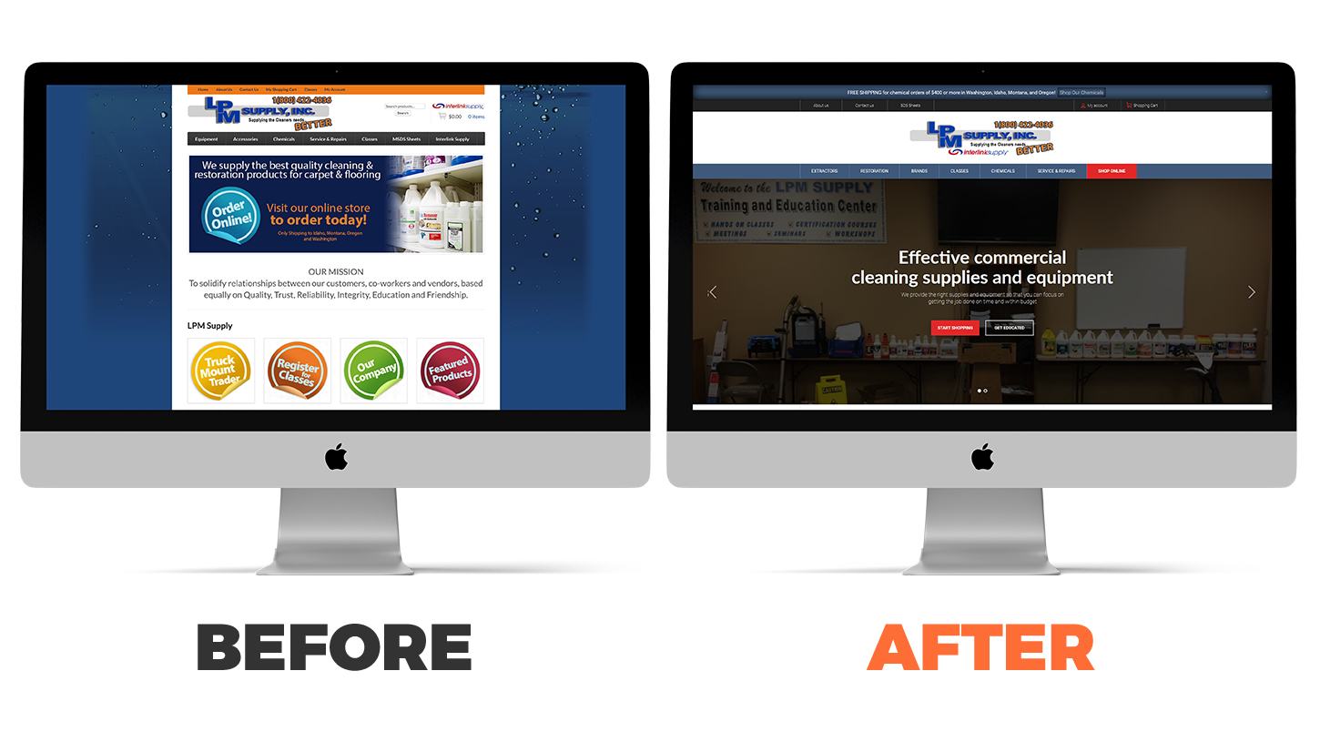 LPM Supply's website before and after
