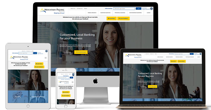 Mountain Pacific Bank's website on a phone, laptop, ipad