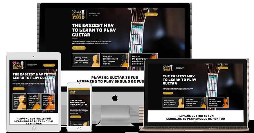 Guitar Quickstart's website on a phone, Laptop, ipad