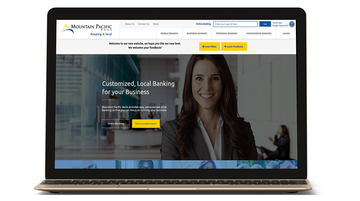 Mountain Pacific Bank's website on a laptop