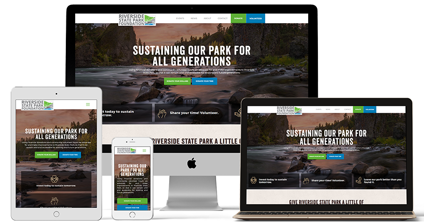 Riverside State Park Foundation's website on a phone, laptop, and iPad