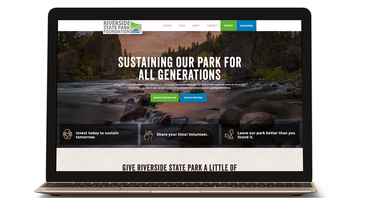 Riverside State Park Foundation's website on a laptop