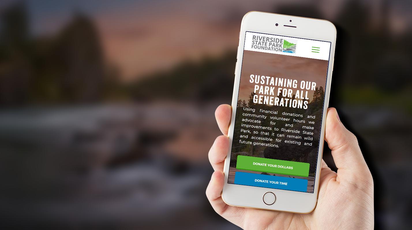 Riverside State Park Foundation's website on a phone