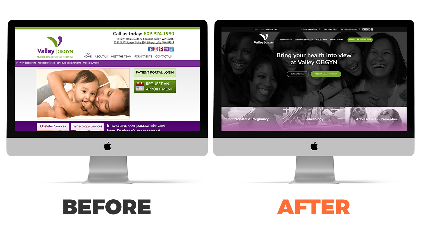 Valley OBGYN website before and after