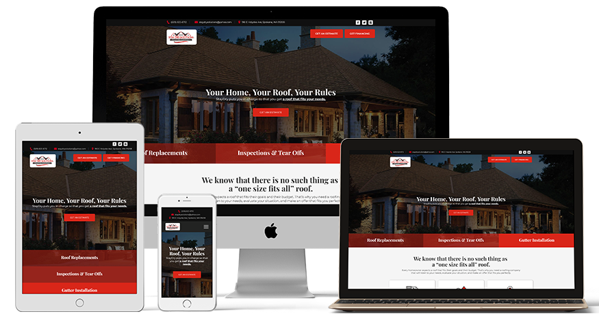 Stay Dry Solutions website on a phone, Laptop, ipad