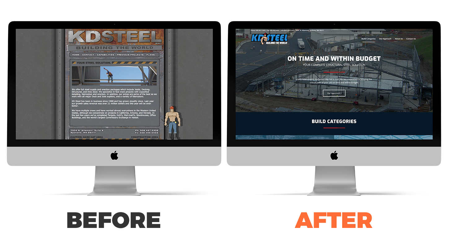KD Steel website before and after