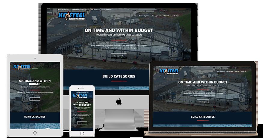KD Steel website on a phone, laptop, iPad