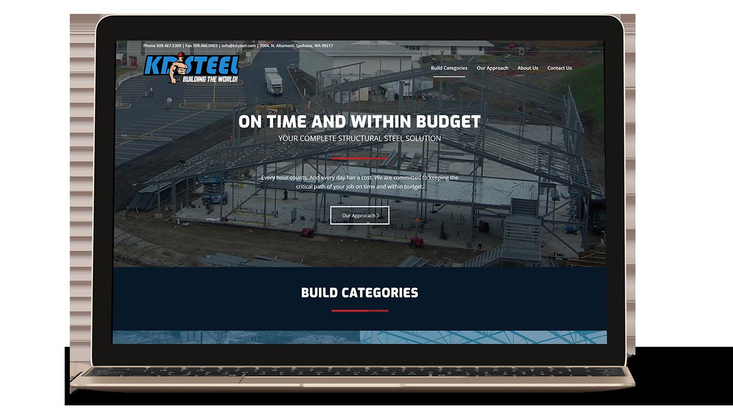 KD Steel website on a laptop