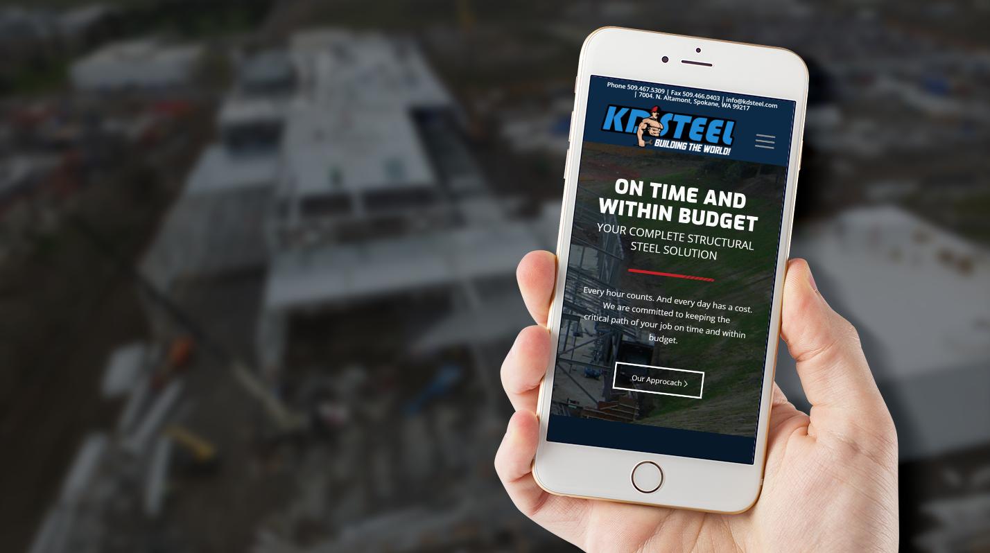 KD Steel website on a phone