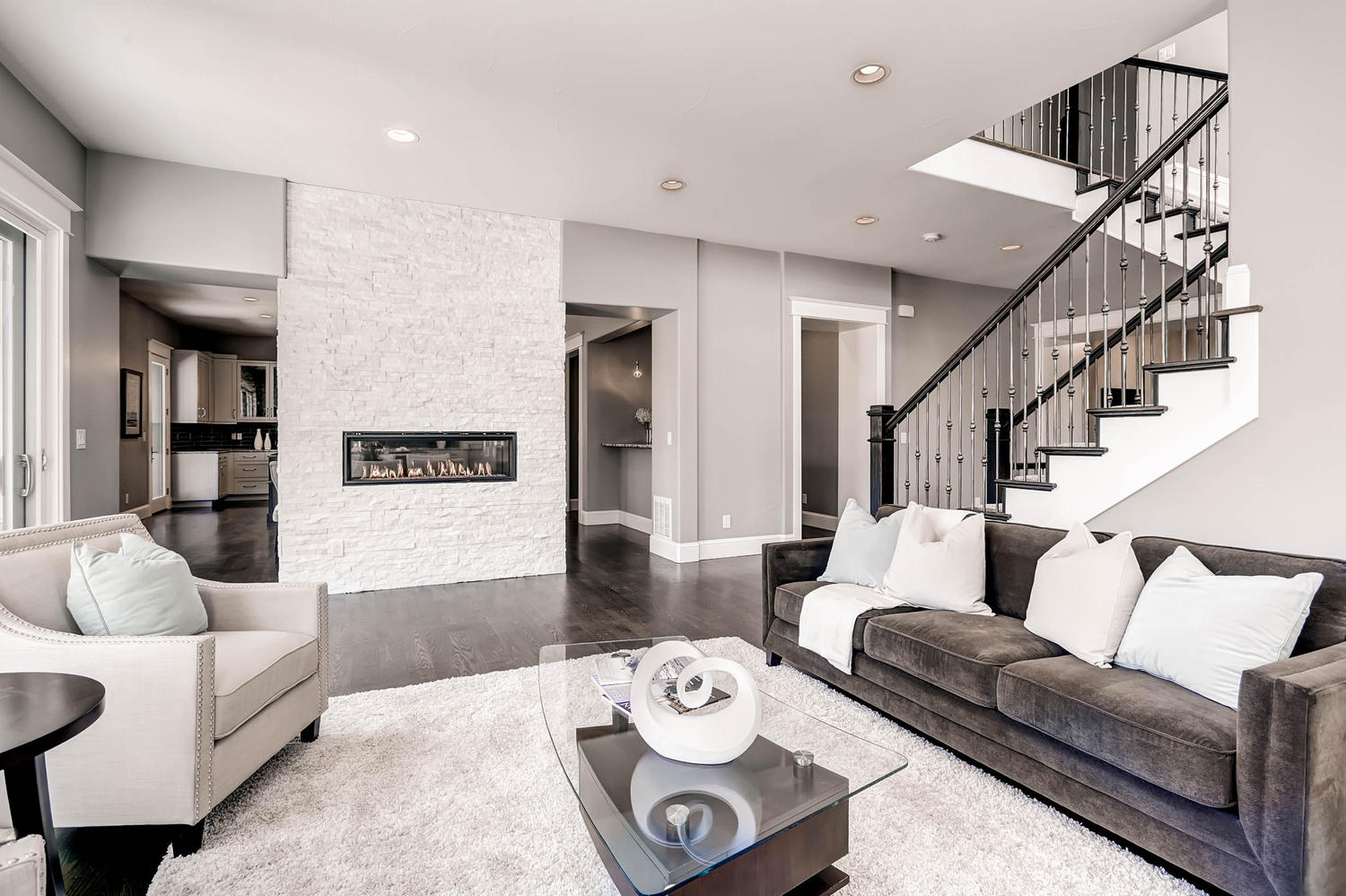 830 Leyden Street Denver Colorado Transitional Design Home Staging Den Wall  Mounted Fireplace   White Orchid Interiors