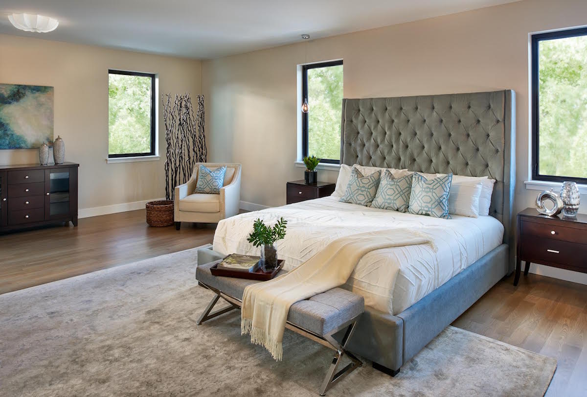 Modern Bedroom Staging Home Staged by White Orchid Interiors