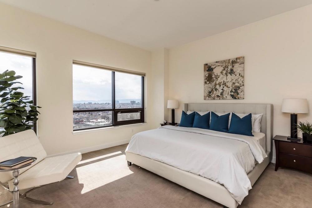 modern bedroom staging