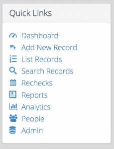 Screen Shot dashboard sidebar