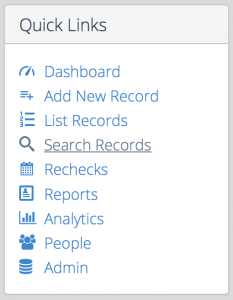 Screen Shot quick search records