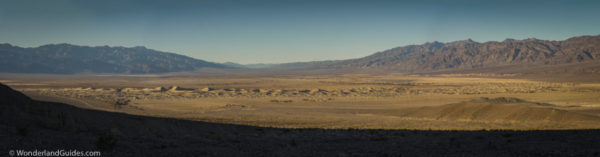 Panorama of the Death Valley Sand Dunes, taken from the alluvial fan below Little Bridge Canyon
