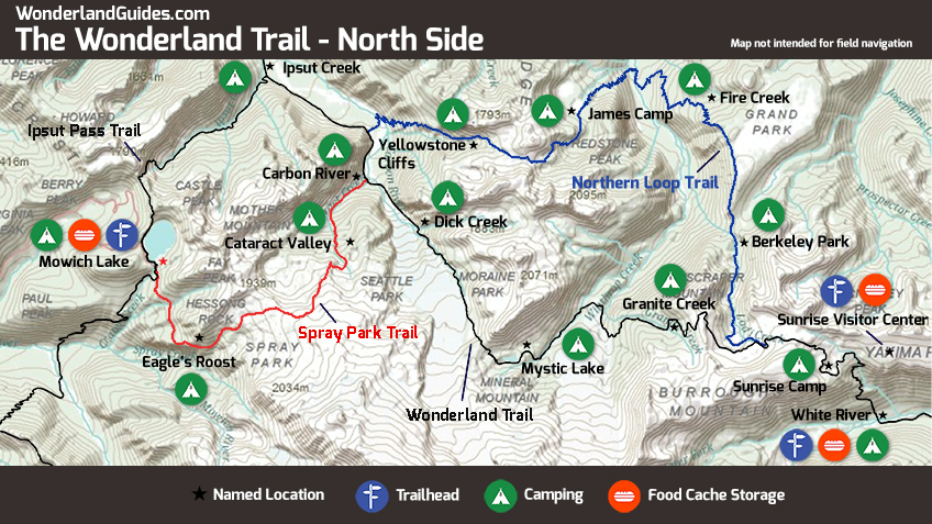 Map of the Northern Loop trail, Spray Park, Ipsut Pass, and the Wonderland Trail on Mount Rainier's norther side