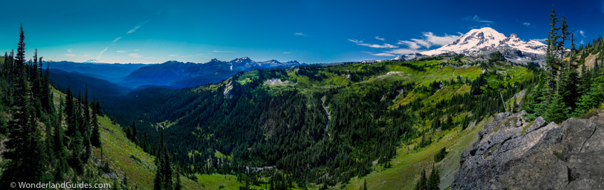 Panorama of Mount Rainier with Cowlitz Park and the Nickel Creek drainage in foreground. View from upper Cowlitz Divide on the Wonderland Trail
