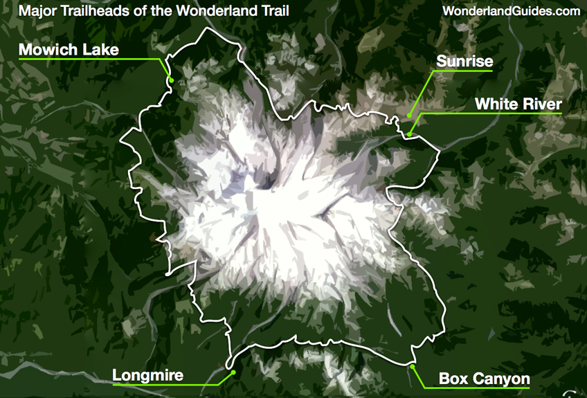 Map showing the major trailheads of the Wonderland Trail