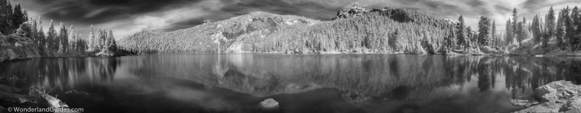 Panorama of Mowich Lake in Mount Rainier National Park photographed in infrared.