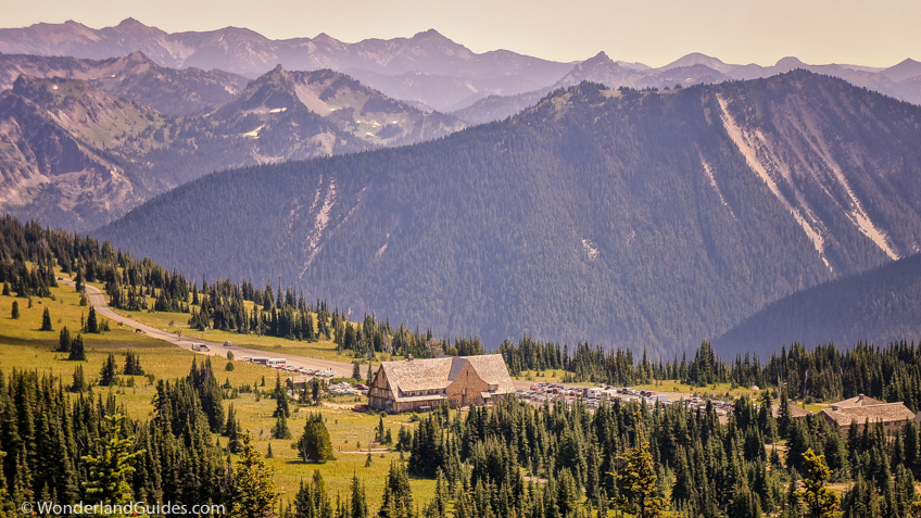 Sunrise Visitor Center in Mount Rainier National Park, viewed from Sourdough Ridge