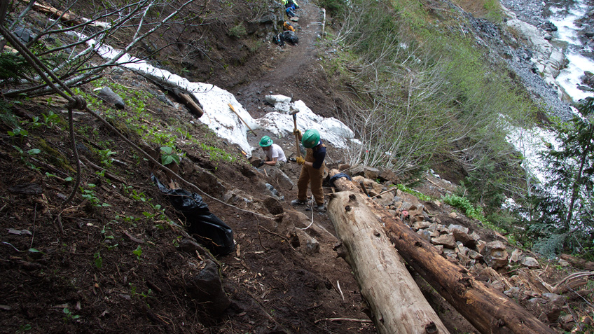Washington Trails Associations Volunteers repair trails at Mount Rainier National Park.