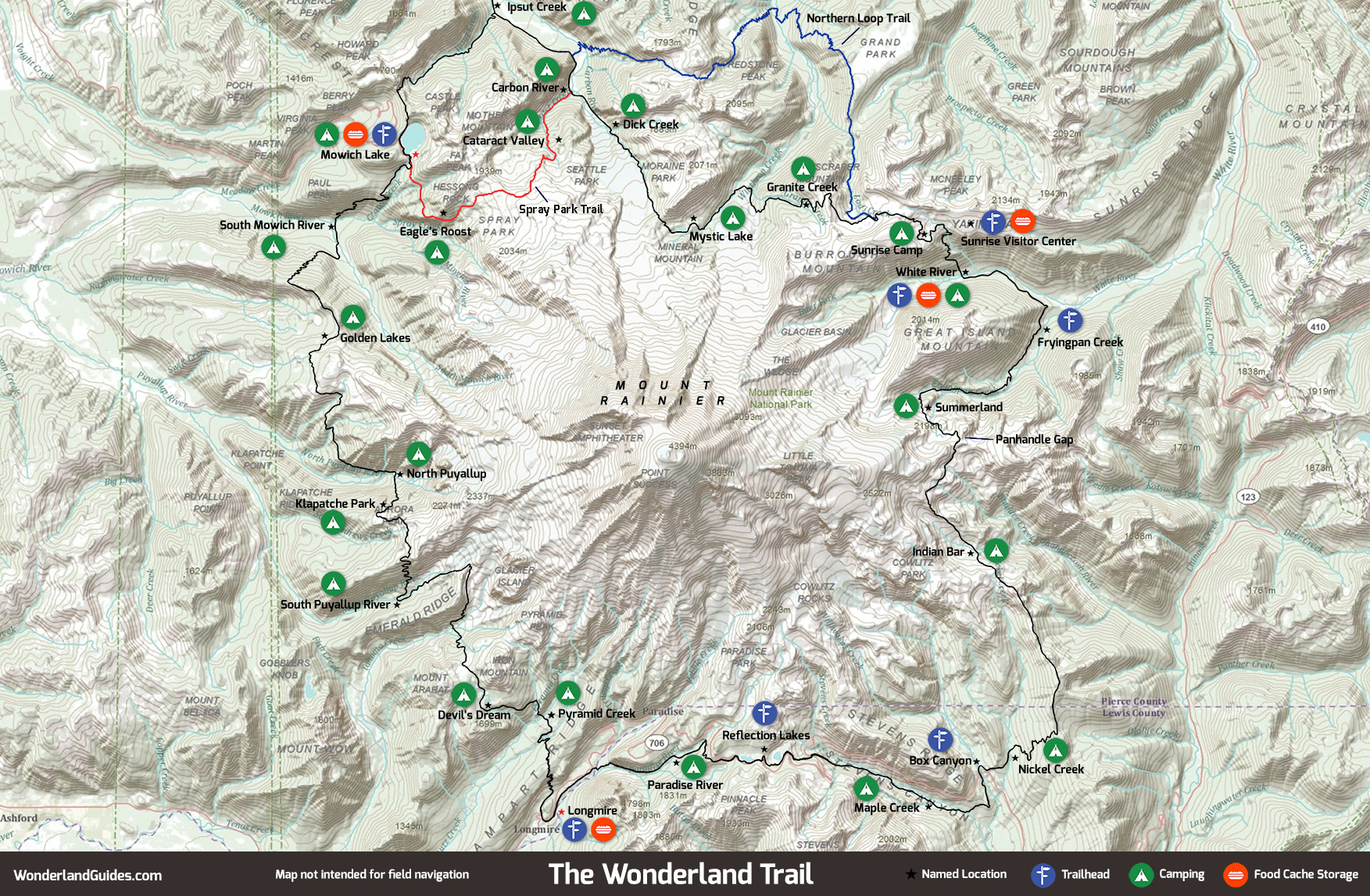 A map of the Wonderland Trail encircling Mount Rainier
