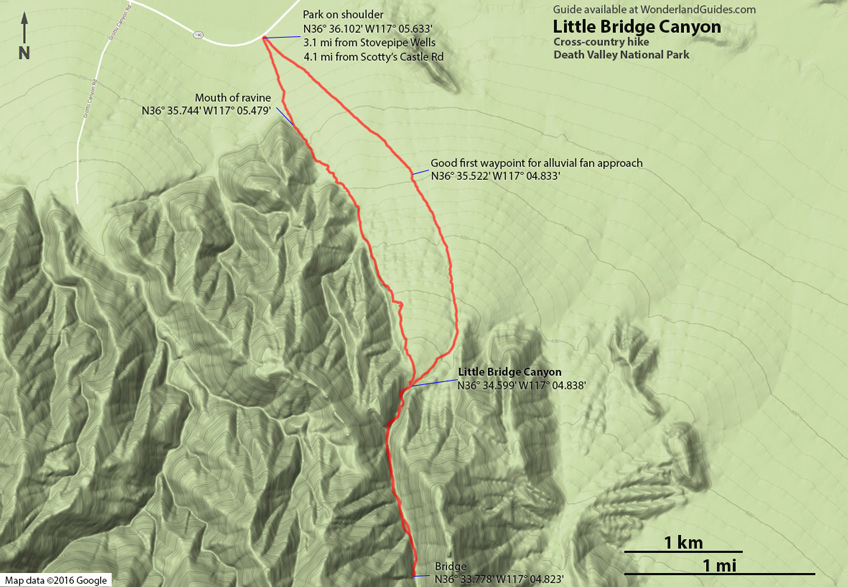 Hiking map of cross-country route to Little Bridge Canyon in Death Valley