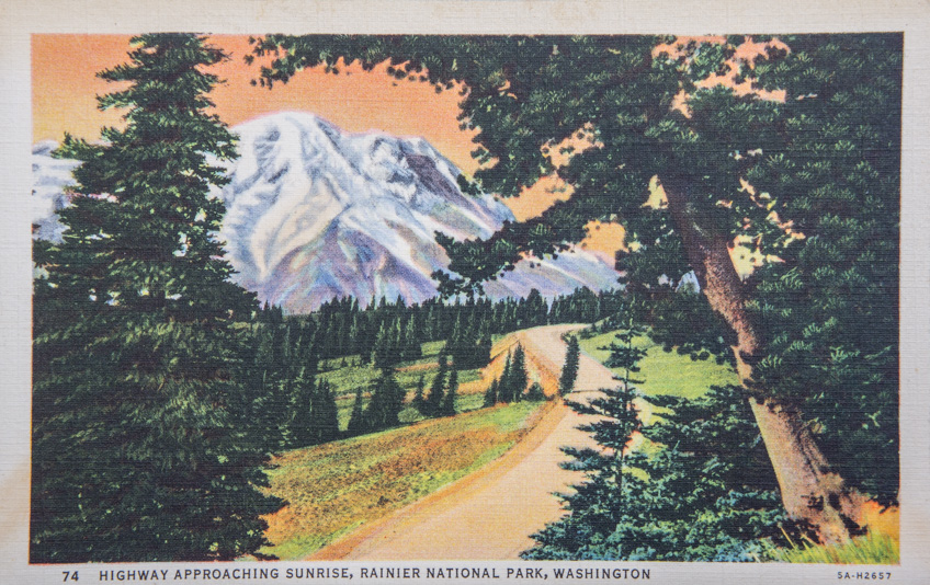 Mount rainier vintage postcard 1