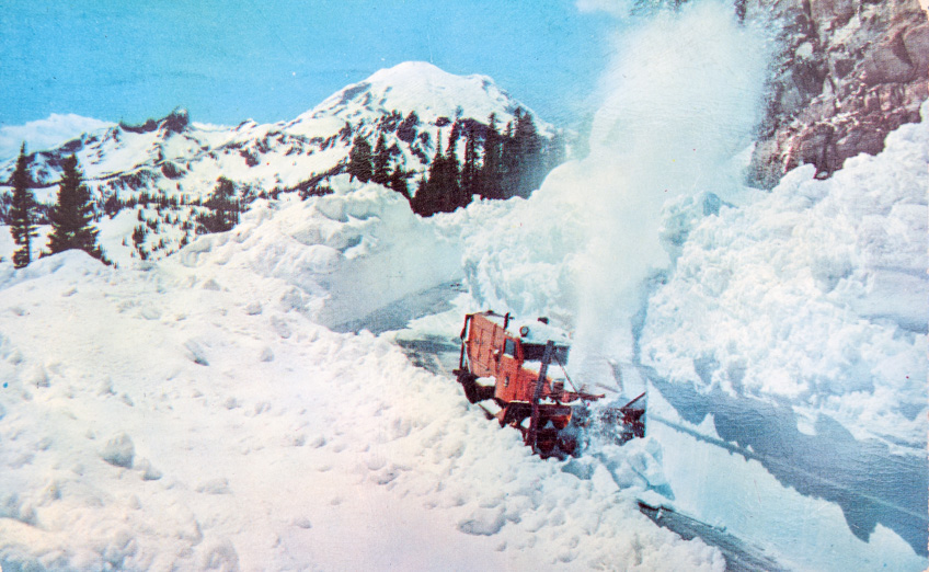 Snowplow on Chinook Pass Highway