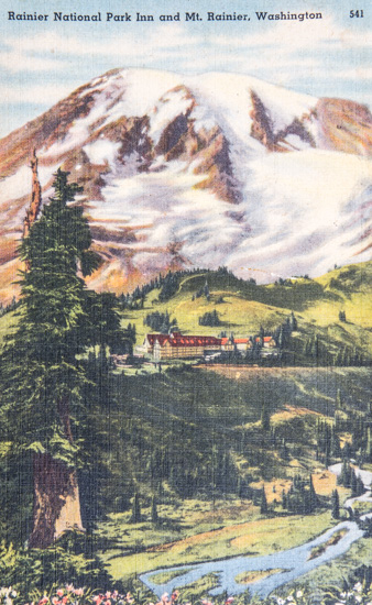 Rainier National Park Inn and Mt. Rainier, Washington.