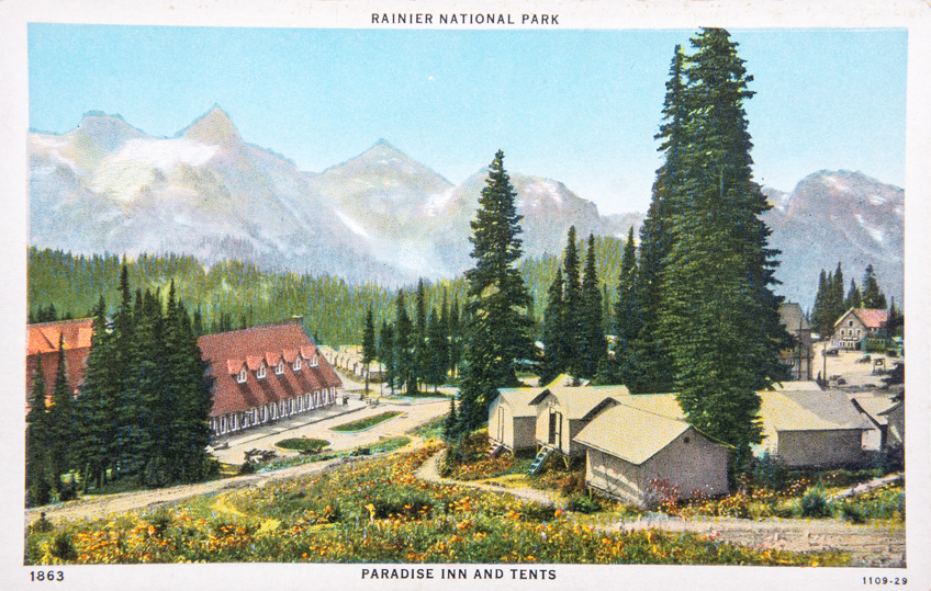 Mount Rainier National Park, Paradise Inn and Tents.