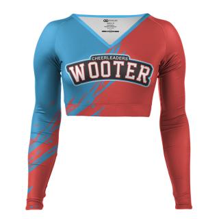 Long Sleeved V-Neck Cheerleading Crop Tops