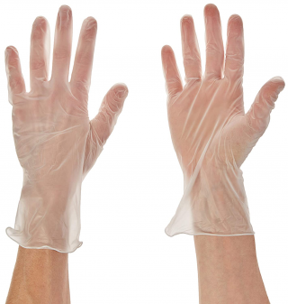 CE Certified, Clear Vinyl Gloves