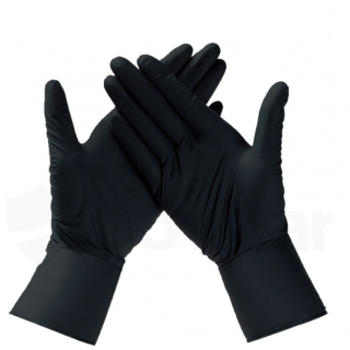 CE Certified, Black Nitrile Gloves