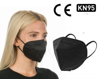 Black KN95 Respirator Face Mask, CE Certified