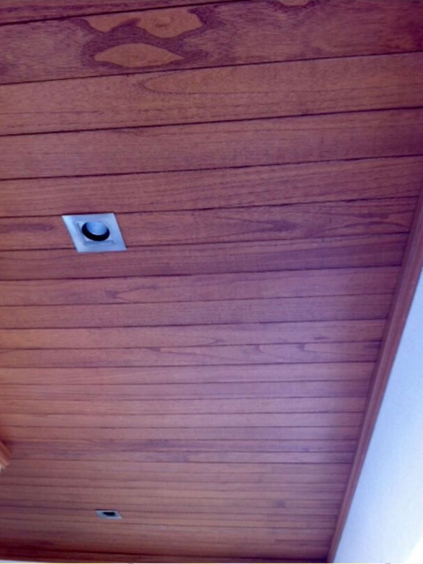 Cedar lining boards with stainless steel downlights Bellevue Hill, NSW