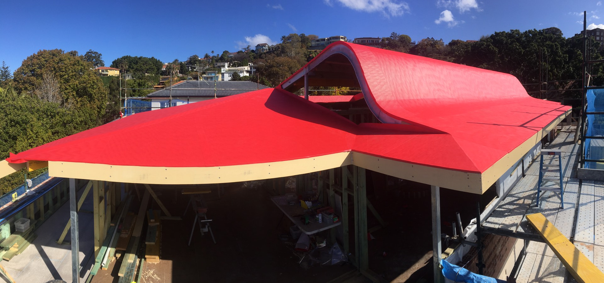 Bellevue Hill roof.  Ply and membrane done.  Ready for standing seem aluminium  Bellevue Hill, NSW