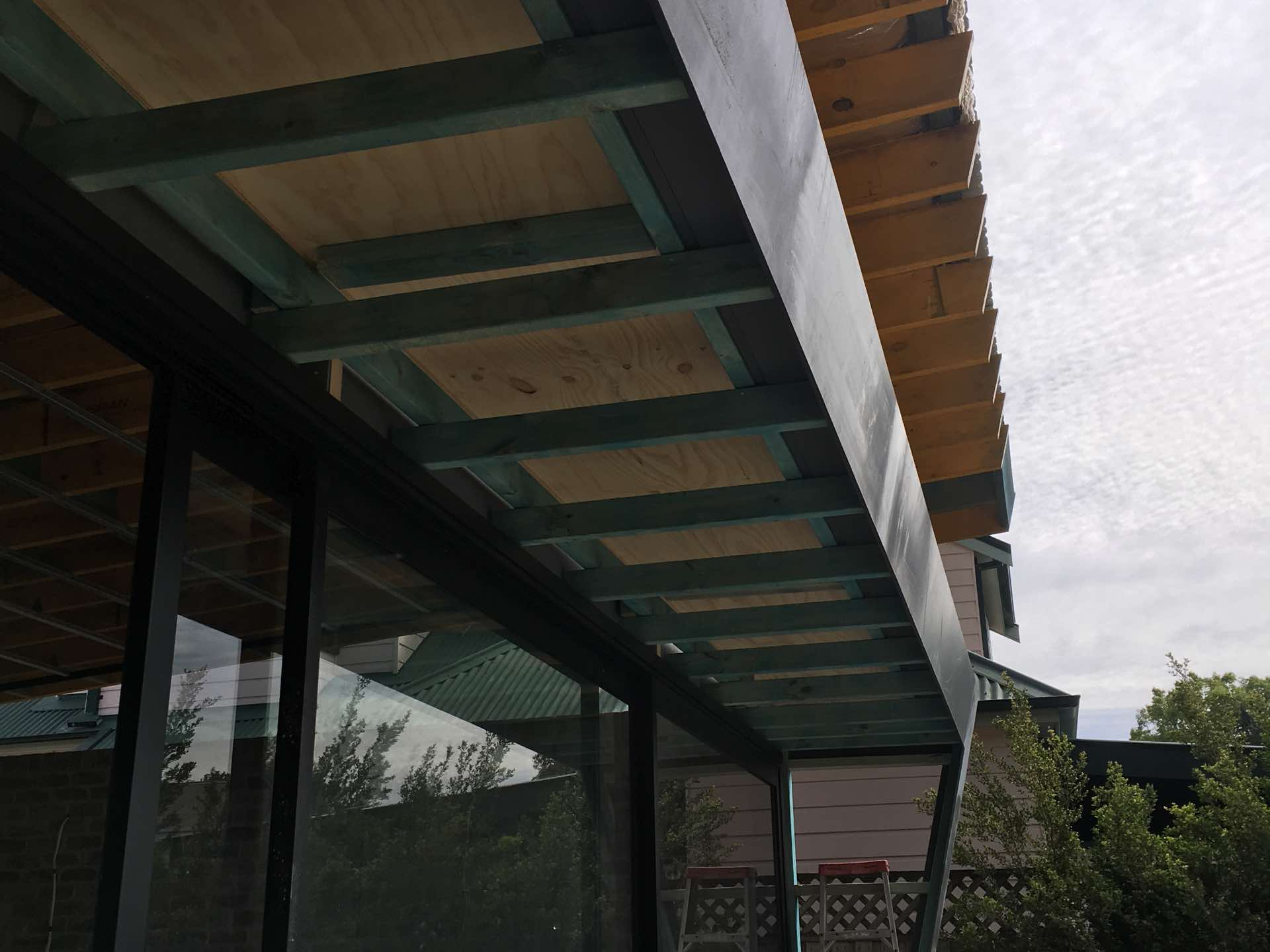 Small awning roof inside structural steel into box gutter Cammeray, NSW