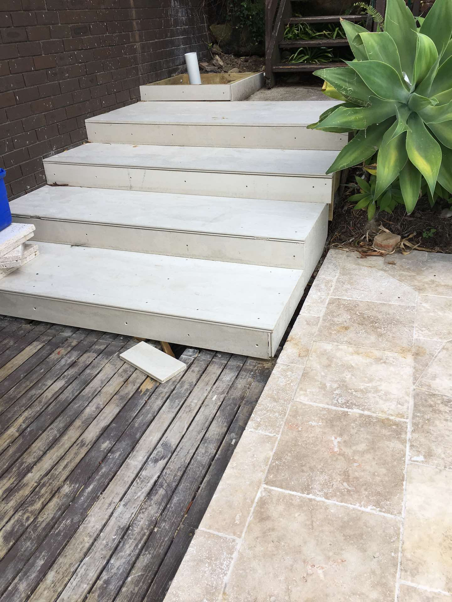 Stage 1. New stairs and outdoor shower base ready for tiling Clontarf, NSW