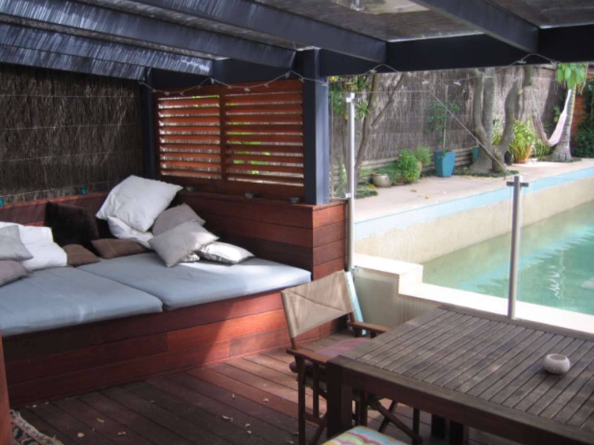 Pool renovation with new day bed, deck privacy screen and perspex covered pergola Fairlight, NSW
