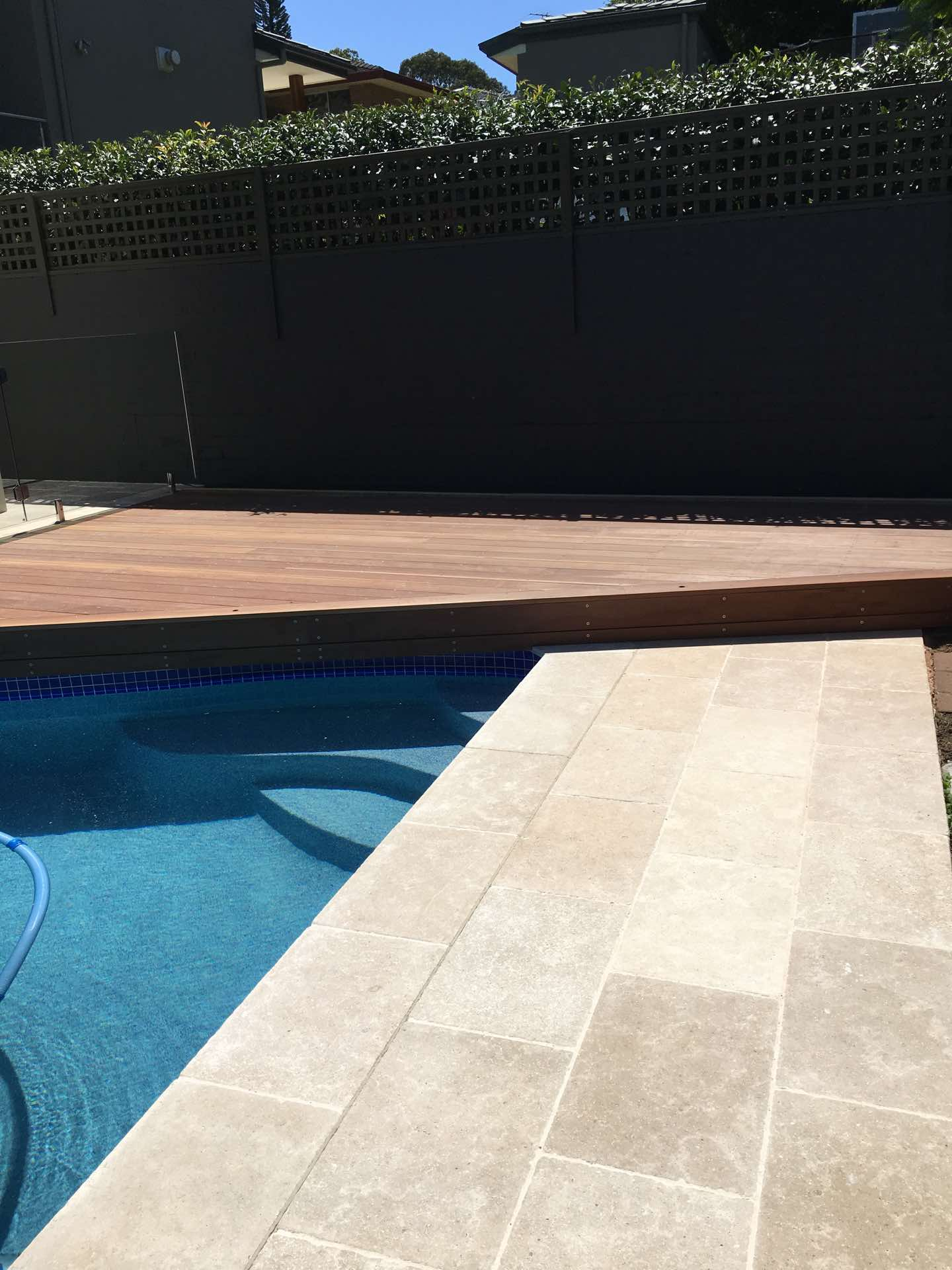 140 x 25 pacific jarrah decks for a pool renovation. Hunters Hill, NSW