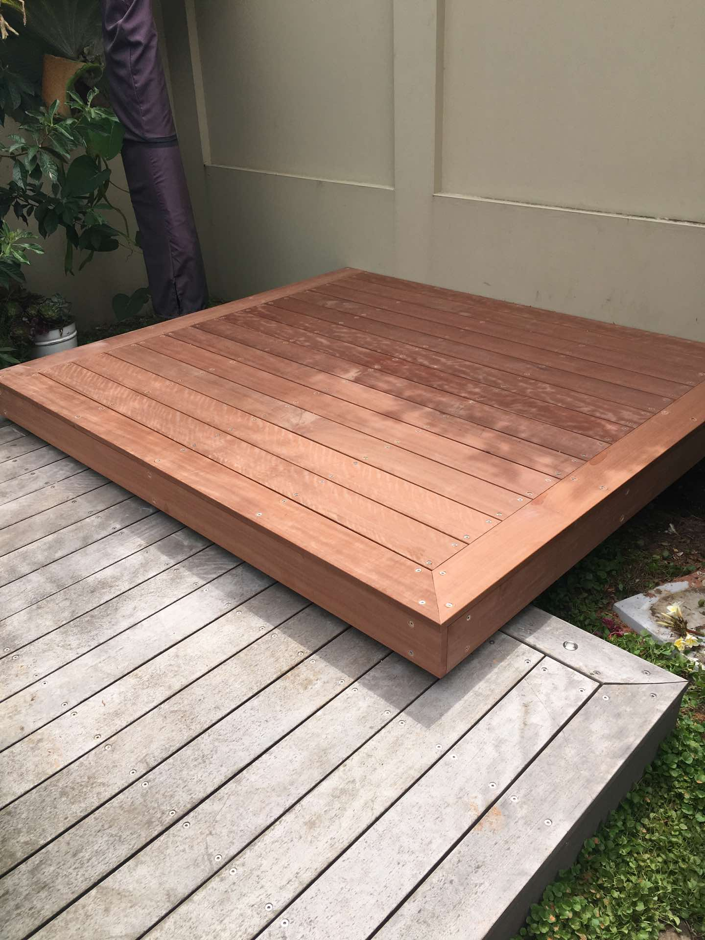 Floating deck over existing deck that has been allowed to age and weather Manly, NSW