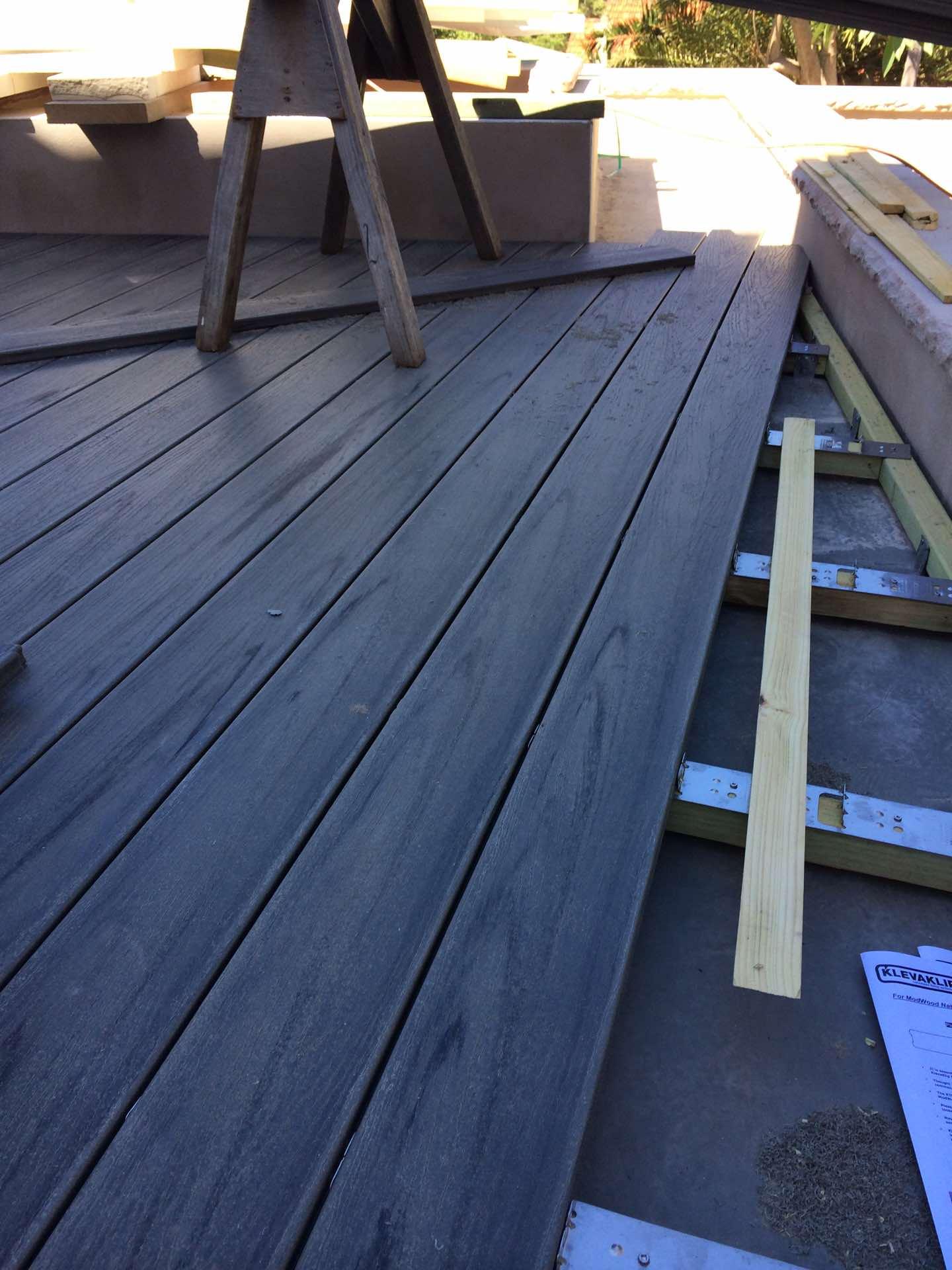 Mod wood deck over concrete garage roof Mosman, NSW